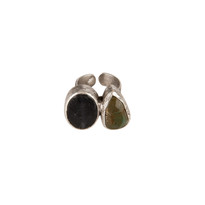 Bold Double Stone Ring with Australian Jade and Navy Agate