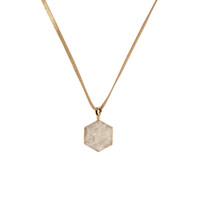 Druzy Hex Necklace on Leather