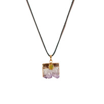 Mikah Amethyst Necklace on Leather