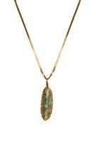 Abalone Feather Necklace on Leather