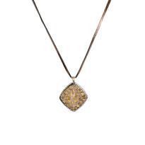 Saree Canary Diamond Necklace on Leather