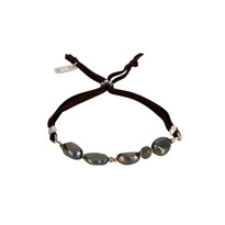 Pearl & Gemstone Adjustable Slide Bracelet in Peacock