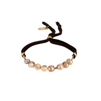 Pearl & Gemstone Adjustable Slide Bracelet in Champagne