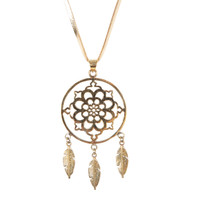 Dreamcatcher Necklace on Leather in Gold