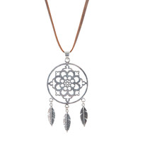 Dreamcatcher Necklace on Leather in Silver
