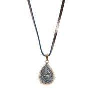 Druzy Reversible Necklace on Leather