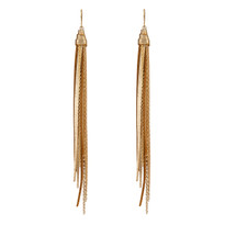 Tassle & Chain Earrings In Tan Shimmer