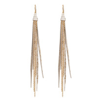 Tassle & Chain Earrings In White Gold