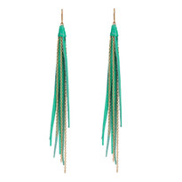 Tassle & Chain Earrings In Turquoise and Gold
