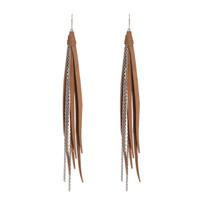 Tassle & Chain Earrings In Beige and Silver