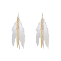Feather Earrings in White Gold