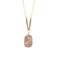 Champagne Druzy Necklace on Leather