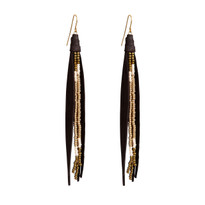 Beaded Tassle Earrings In Bean and Gold
