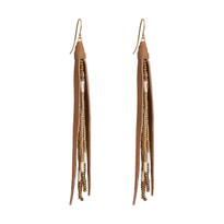 Beaded Tassle Earrings In Beige