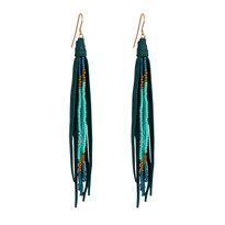 Beaded Tassle Earrings In Emerald