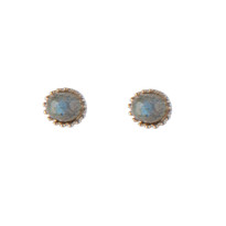 Mini Disco Studs with Labradorite in Silver