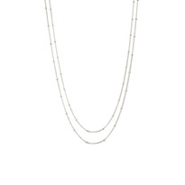 Delicate Double Chain Necklace in Silver