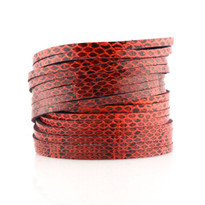 Sliced Wrap Bracelet In Red Snake Print
