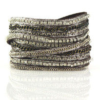 Mixed Media Wrap Bracelet In Brown Shimmer