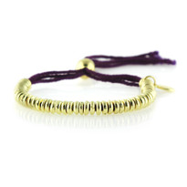 Prayer Bead Bracelet In Gold/Eggplant