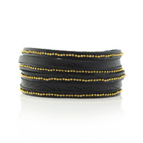 Beaded Mini Wrap Bracelet In Black