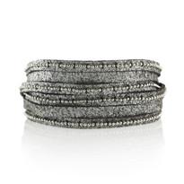 Beaded Mini Wrap Bracelet In Brown Shimmer