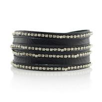 Crystal Wrap Bracelet In Black