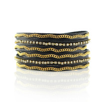 Crystal & Gold Chain Wrap Bracelet In Black