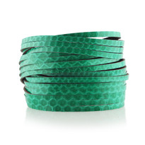 Sliced Wrap Bracelet In Teal Snake Print