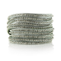 Beads Row & Crystal Wrap Bracelet In Army Shimmer