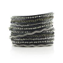 Mixed Media Wrap Bracelet In Black & Silver