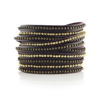 Beads Row Wrap Bracelet In Eggplant