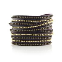 Beads Row Wrap Bracelet In Eggplant
