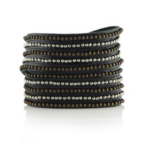Beads Row Wrap Bracelet In Black