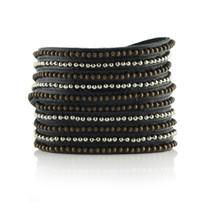Beads Row Wrap Bracelet In Black