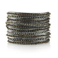 Beads Row Wrap Bracelet In Brown Shimmer