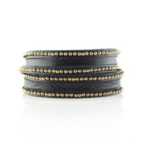 Beaded Wrap Bracelet In Black