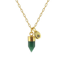 Stone Point & Star Necklace With Green Onyx