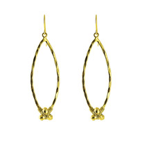 Pyrite Nugget Marquis Earring In Gold