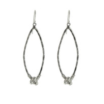 Pyrite Nugget Marquis Earrings In Silver