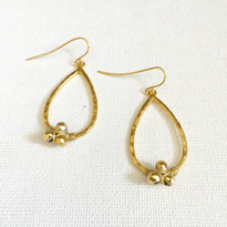Pyrite Nugget Teardrop Earrings In Gold