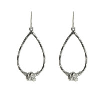 Pyrite Nugget Teardrop Earrings In Silver