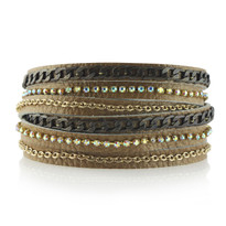 Mixed Metal Wrap Bracelet In Cappuccino