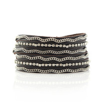 Crystal & Silver Chain Wrap Bracelet In Chocolate
