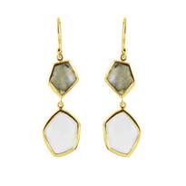 Double Hexagon Earrings In Labradorite And Chalcedony