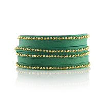 Beaded Wrap Bracelet in Turquoise and Gold