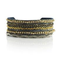 Mixed Media Adjustable Slide Bracelet in Midnight Shimmer