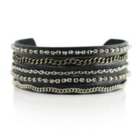 Mixed Media Adjustable Slide Bracelet in Black