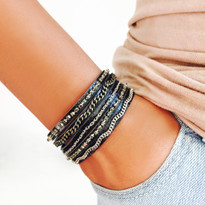 Mixed Media Adjustable Slide Bracelet in Black