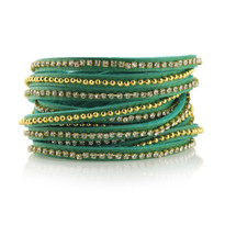 Beads Row & Crystal Wrap Bracelet in Turquoise